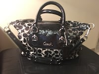 black and gray leather tote bag Calgary