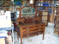 ANTIQUE DRESSER WITH DRAWERS AND MIRROR Langley