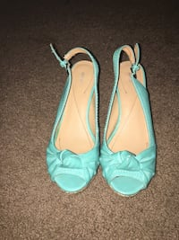 Women's pair of beige-and-teal leather sling back flats Justice, 60458