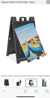 24 x 36 Signicade Plastic A-Frame Sandwich Board with Lenses, Double Sided Curb Sign for Outdoor Use, Black