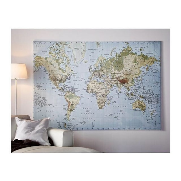 Ikea Premiar World Map Picture with Frame/canvas Large 55 X 78 Inches