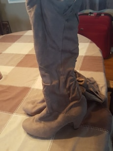 pair of gray boots