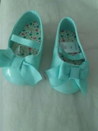 pair of teal leather mary jane shoes Hubert, 28539