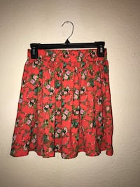 women's red, pink, and green floral flared skirt San Marcos, 78666