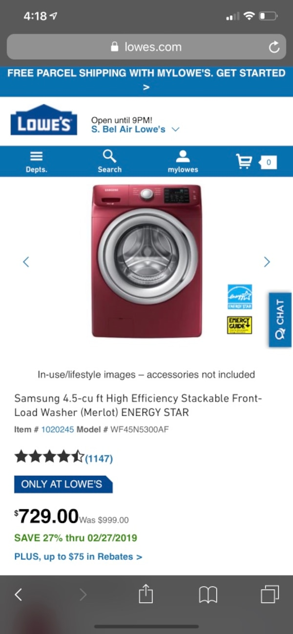 Samsung front load washer dryer set with 1 year warranty  efe464ed-ea88-4abb-aaa3-6ee7dcf8e03d