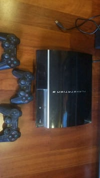 black Sony PS3  with three controllers Abbotsford, V2T 5W9