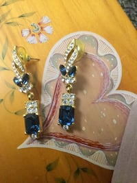 1 pair of Fancy  evening wear fashion earrings / Navy blue gemstones and crystals  Alexandria, 22311
