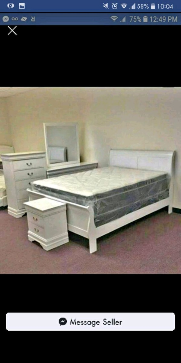 Brand New 5pc. White Queen Bedroom Set