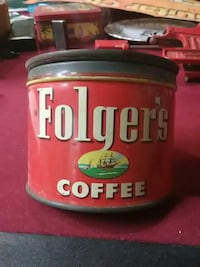 1952 Vintage Folgers Coffee Tin Canyon Lake, 78133