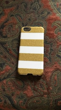 gold and white striped iPhone case
