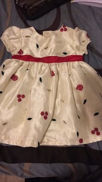 toddler girl's white and red floral cap-sleeved dress