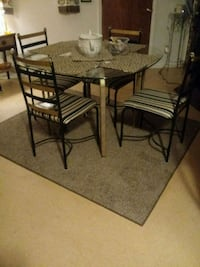 rectangular black metal table with four chairs dining set Clovis, 88101