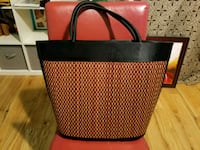 black and red leather tote bag Richmond, V6Y