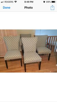 Four grey pattern padded  kitchen/dinning chairs