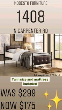 brown wooden bed frame with text overlay Modesto, 95350