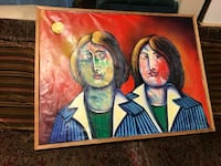 Vintage Folk Painting Lennon & Yoko Ono Oil on Canvas Chattanooga, 37411