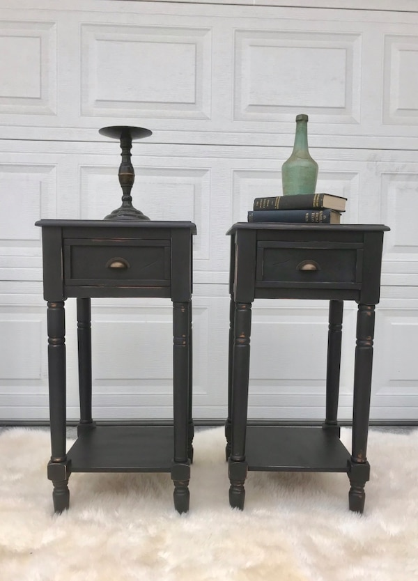 Wood black distressed antique set night stands side tables end table  bdacc7cd-3377-4119-b235-c050bfbfcf8f