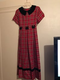 red and white plaid chelsea-collared short-sleeved box-pleat column dress Detroit, 48226