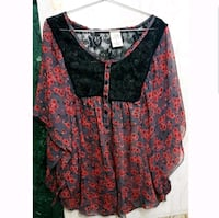 women's red and black floral blouse 12844 km