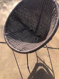 Wicker and iron novelty chair and table