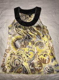 yellow, grey, and brown floral sleeveless blouse Pharr, 78577