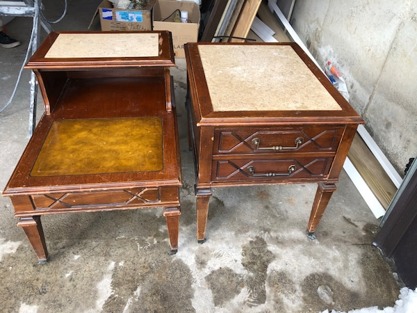 Original antique furniture- 2 side tables and one record player dresser