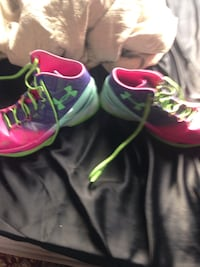 Pink-purple-and-teal under armour basketball shoes