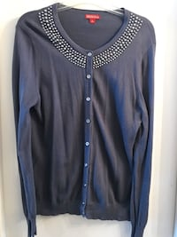 Blue with grey beads cardigan Large