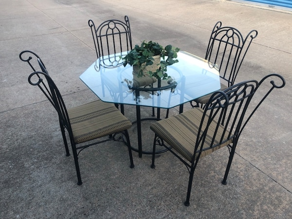 Used Wrought Iron Gl Top Table Chairs For In Broken Arrow Letgo