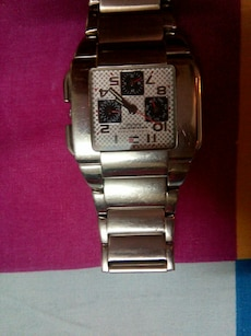 square silver chronograph watch with link bracelet