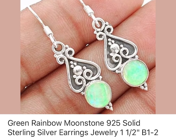 925 silver green rainbow moonstone earrings.