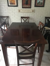 Rectangular brown wooden table with six chairs dining set Elgin, 60123