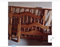 Brown wooden headboard and footboard and frame