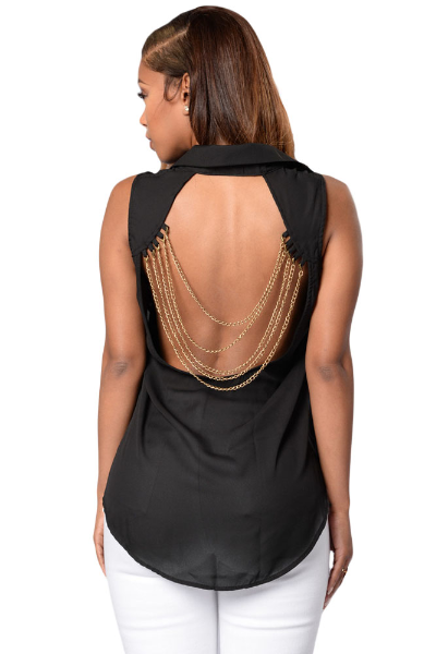NEW women's black open back sleeve HARRISBURG