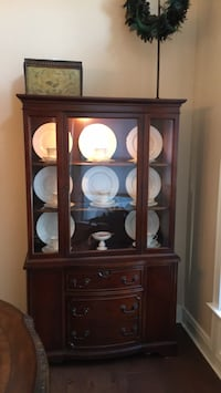 Brown wooden framed glass display cabinet Virginia Beach, 23456