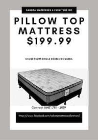 SINGLE DOUBLE OR QUEEN PILLOW TOP MATTRESS ONLY 199.99 NO TAX NO EXTRA FEES Toronto