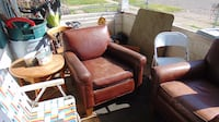 Mitchell gold+bob brown  leather padded armchair 497 mi