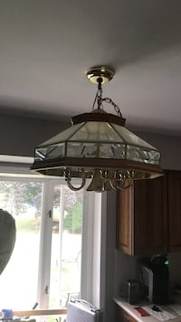 Natural wood and gold accent kitchen chandelier