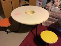 Unique Kids Craft Table with Attached Seats