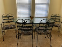 Wrought iron dinette and baker's rack with 4 chairs and kitchen chandelier $200 best offer New York, 11379