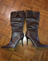 Pair of brown leather heal boots size 9 womans Oakville