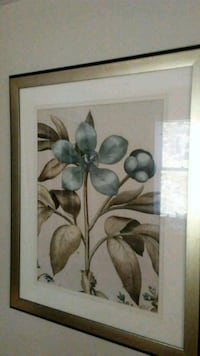 brown wooden framed painting of white flowers 221 mi