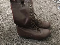Brown leather zip side boots Centralia, 98531