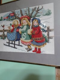 winter scene framed cross stitch