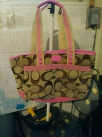 brown and pink Coach tote bag Akron, 44312