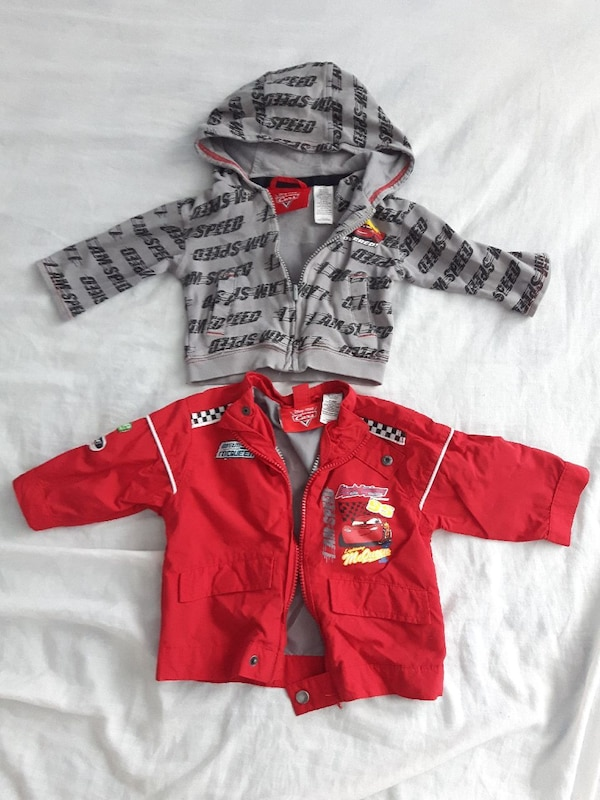 two toddler's zip-up jackets