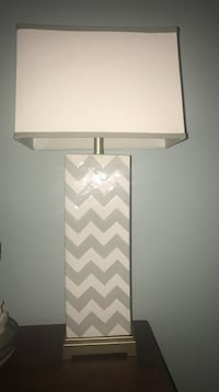 Gorgpair of chevron lamps including linen type shades. Franklin, 37064