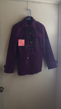 purple and white button-up jacket
