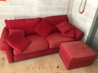 "Red Couch & Ottoman 89"" Long Silver Spring, 20906"