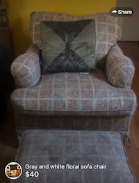 white and gray floral sofa chair Pharr, 78577